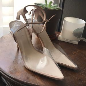 Perspex heel with nude strap